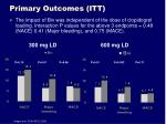 primary outcomes itt