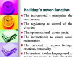 halliday s seven function