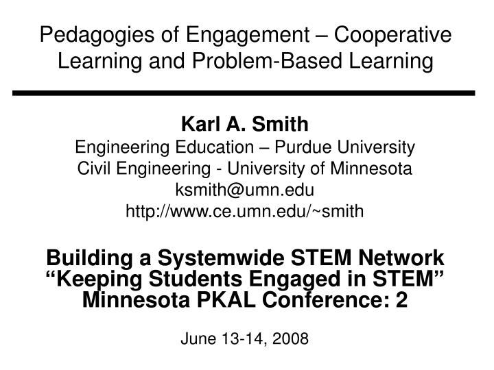 pedagogies of engagement cooperative learning and problem based learning n.