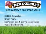 ben jerry s eco green value
