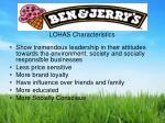 lohas characteristics