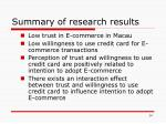 summary of research results
