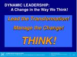 dynamic leadership a change in the way we think