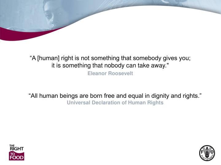"""A [human] right is not something that somebody gives you; it is something that nobody can take aw..."