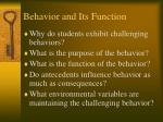 behavior and its function