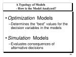 a typology of models how is the model analyzed
