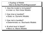 a typology of models how is the real world represented