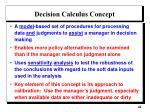 decision calculus concept