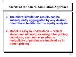 merits of the micro simulation approach1