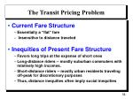 the transit pricing problem