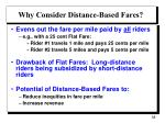 why consider distance based fares