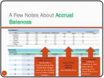 a few notes about accrual balances