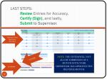 last steps review entries for accuracy certify sign and lastly submit to supervisor