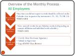 overview of the monthly process all employees