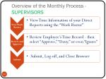 overview of the monthly process supervisors