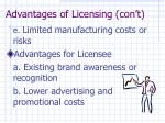 advantages of licensing con t