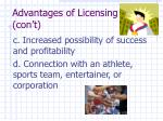advantages of licensing con t1