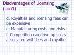 disdvantages of licensing con t
