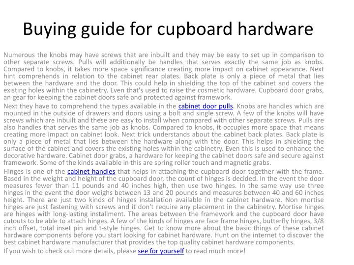 buying guide for cupboard hardware n.