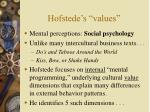 hofstede s values