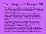 the underground railway in wi