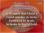 we know that christ is raised 1