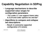 capability negotiation in sdpng