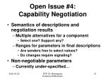 open issue 4 capability negotiation