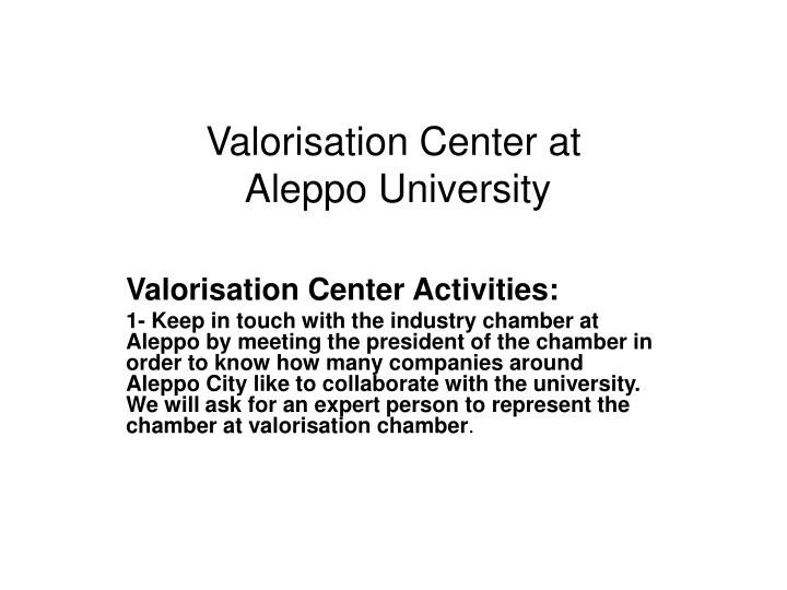 valorisation center at aleppo university n.