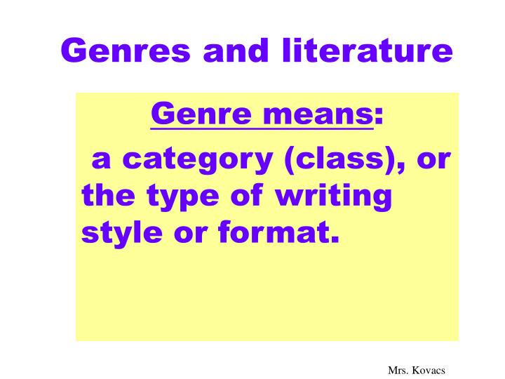 genres and literature n.