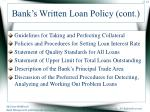 bank s written loan policy cont