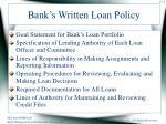 bank s written loan policy