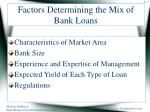 factors determining the mix of bank loans