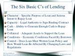 the six basic c s of lending