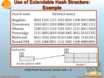 use of extendable hash structure example