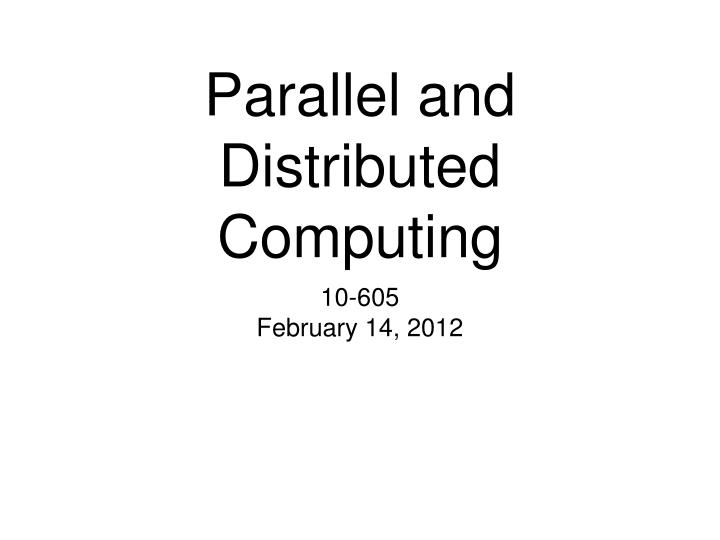 parallel and distributed computing n.
