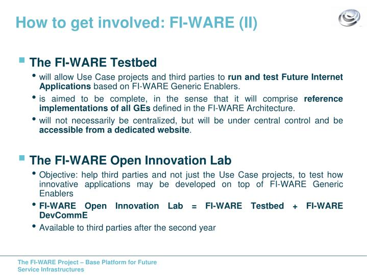 How to get involved: FI-WARE (II)