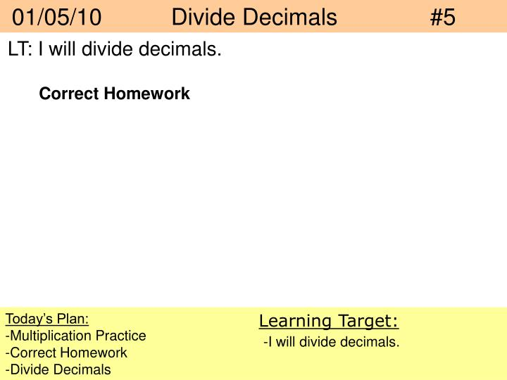 01/05/10   Divide Decimals#5