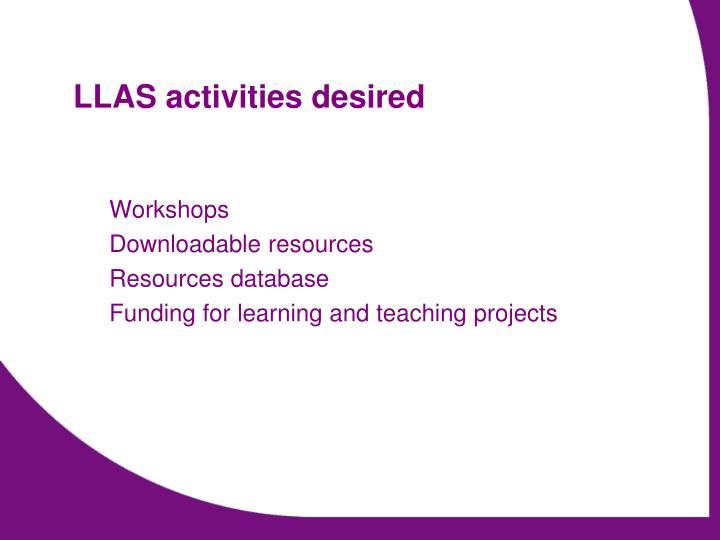 LLAS activities desired