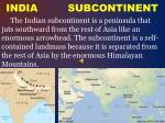 india subcontinent