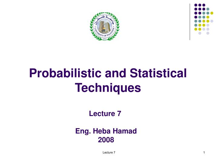 probabilistic and statistical techniques n.