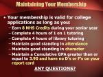 maintaining your membership
