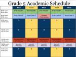grade 5 academic schedule