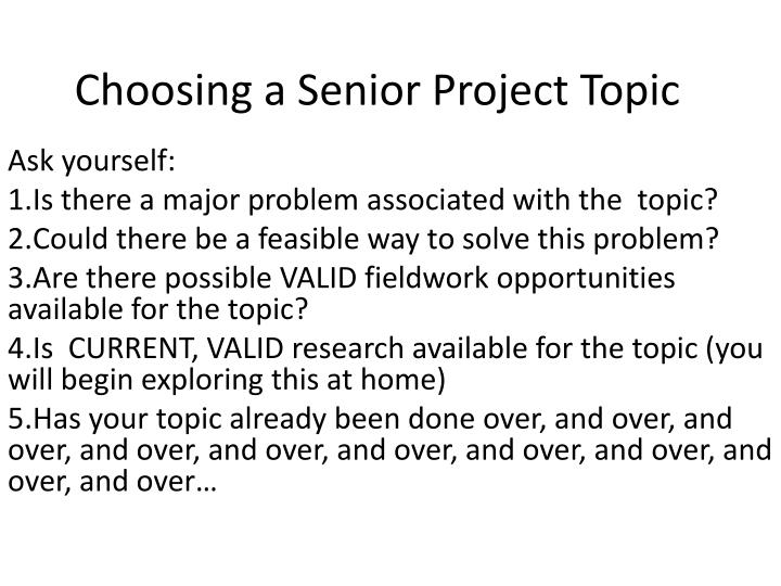 choosing a senior project topic n.