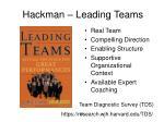 hackman leading teams
