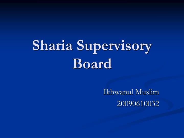 sharia supervisory board n.