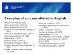 examples of courses offered in english