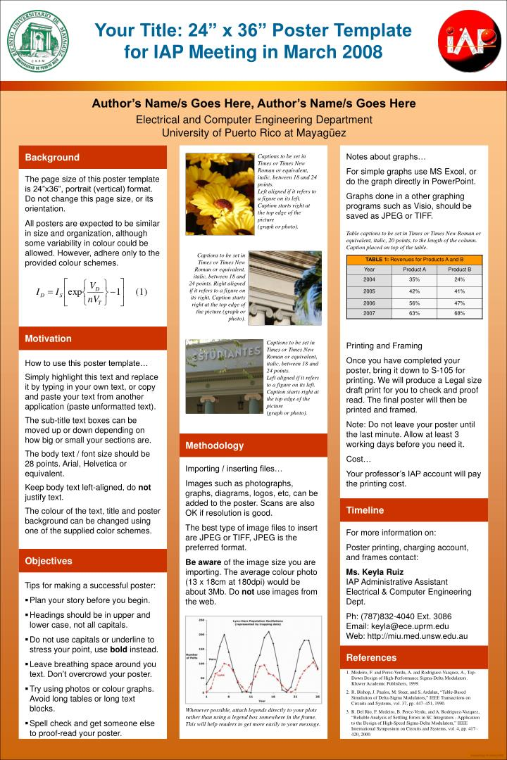 """PPT - Your Title: 24"""" x 36"""" Poster Template for IAP Meeting in March ..."""