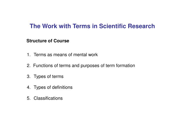 the work with terms in scientific research n.