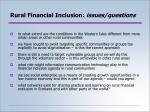 rural financial inclusion issues questions